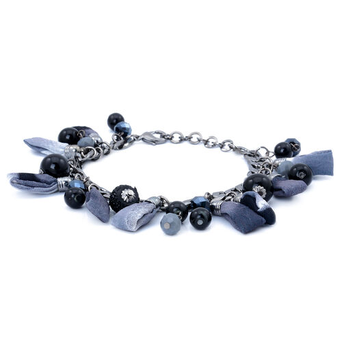 Black and Grey Glass Bracelet in Silver Tone with Resin (Size 7.5 with Extender)