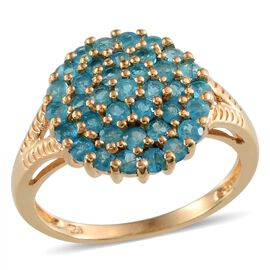 Malgache Neon Apatite (Rnd) Cluster Ring in Yellow Gold Overlay Sterling Silver 1.500 Ct.