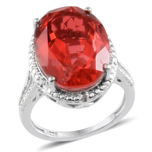 Padparadscha Colour Quartz (Ovl 9.25 Ct), Diamond Ring in Platinum Overlay Sterling Silver 9.300 Ct.