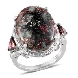 Russian Eudialyte (Ovl 10.00 Ct), Rhodolite Garnet Ring in Platinum Overlay Sterling Silver 11.000 Ct.