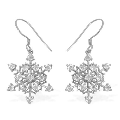 Mega Deal Limited Available Starburst Diamond (Rnd) Fish Hook Earrings in Platinum Overlay Sterling Silver 0.15 Ct.