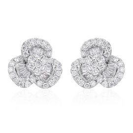 ILIANA 18K White Gold 1 Carat IGI Certified Diamond (SI/G-H) Stud Earrings (with Screw Back)