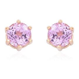 ILIANA 18K Y Gold AAA Kunzite (Rnd) Stud Earrings (with Screw Back) 1.500 Ct.