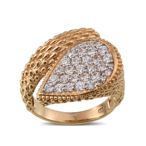 J Francis - 14K Gold Overlay Sterling Silver (Rnd) Crossover Ring Made With SWAROVSKI ZIRCONIA