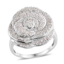Diamond Platinum Overlay Sterling Silver Ring  0.480  Ct.