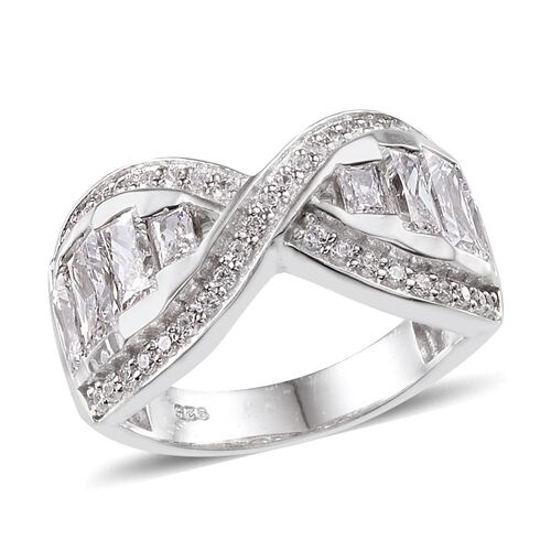 J Francis - Platinum Overlay Sterling Silver (Bgt) Criss Cross Ring Made with SWAROVSKI ZIRCONIA 1.970 Ct.