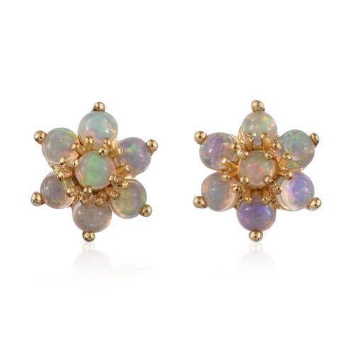 Ethiopian Welo Opal (Rnd) Floral Stud Earrings (with Push Back) in 14K Gold Overlay Sterling Silver 1.000 Ct.