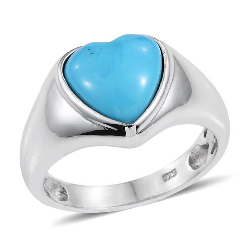 Arizona Sleeping Beauty Turquoise (Hrt) Solitaire Ring in Platinum Overlay Sterling Silver 1.750 Ct.