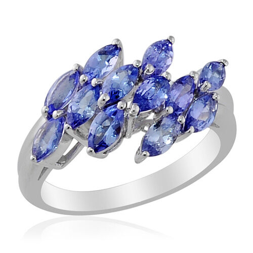 Tanzanite (Mrq) Ring in Platinum Overlay Sterling Silver 1.520 Ct.