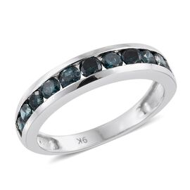 9K W Gold SGL Certified Blue Diamond (Rnd) (I3) Half Eternity Band Ring 0.750 Ct.