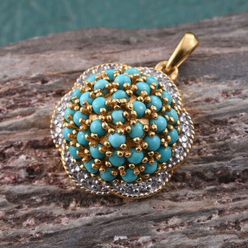 Sleeping Beauty Turquoise And Zircon 3.25 Carat Silver Cluster Pendant in Gold Overlay