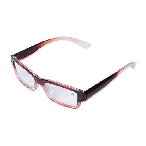 Set of 3 - Brown Unisex Ready Reader Glasses with a diopter strength of +2.5,+3.0 and +3.5.