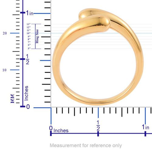LucyQ Drip Crossover Ring in Yellow Gold Overlay Sterling Silver 5.71 Gms.