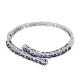 Tanzanite (Ovl) Bangle (Size 6.5) in ION Plated Platinum Bond 3.600 Ct.