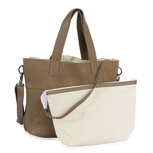 Set of 2 - Chocolate and White Colour Large and Small Genuine Leather Handbag with Removable Shoulder Strap (Size 28x34x11, 22x21 Cm)