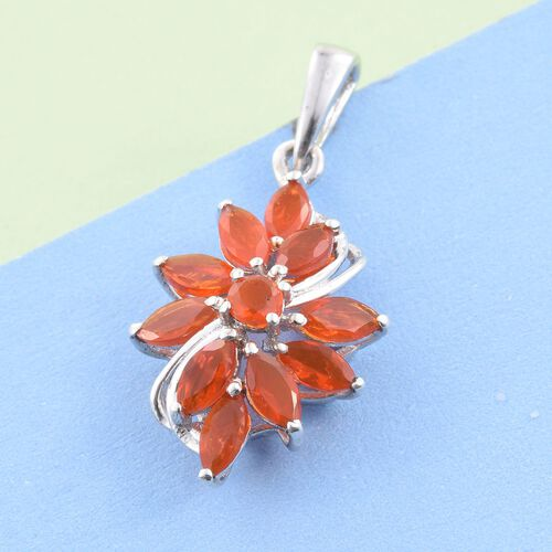 Jalisco Fire Opal (Rnd) Pendant in Platinum Overlay Sterling Silver 1.000 Ct.