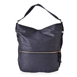 (CLOSEOUT DEAL) Black Colour Shoulder Bag with External Zipper Pocket (Size 36x30x16.5 Cm)