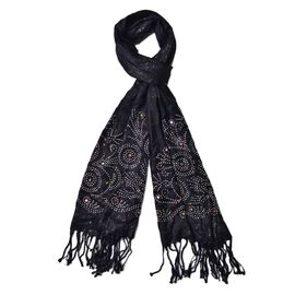 AAA White Austrian Crystal Studded Tree Pattern Black Colour Scarf with Tassels (Size 165x58 Cm)