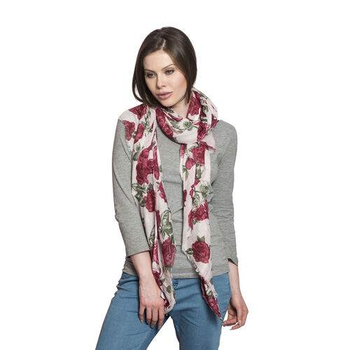Red, Green and White Colour Rose Flower Printed Scarf (Size 180X110 Cm)