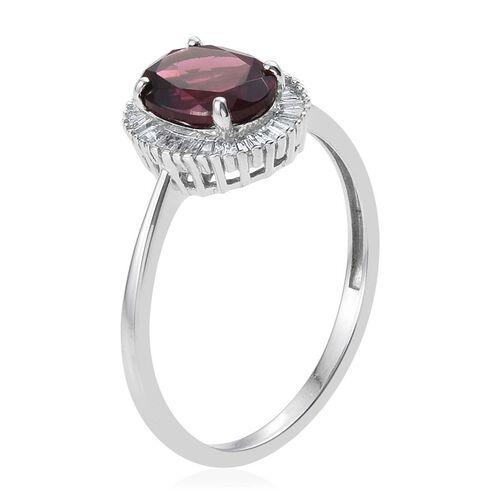9K W Gold Rare Mozambique Grape Colour Garnet (Ovl 2.50 Ct), Diamond Ring 2.750 Ct.