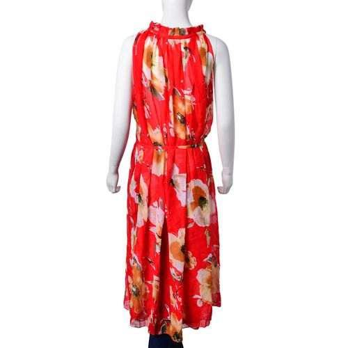 New For Season- Midi Length White, Brown and Multi Colour Bloom Floral Pattern Red Colour Dress (Free Size)