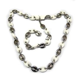 Natural Ceramic Bracelet (Size 8) and Necklace (Size 20) Set in Silvertone