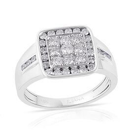 ILIANA 18K White Gold 1 Carat Cluster IGI Certified Diamond SI/G-H Men Ring