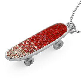 Red, Pink and White Austrian Crystal Skateboard Pendant With Chain (Size 20) in Stainless Steel