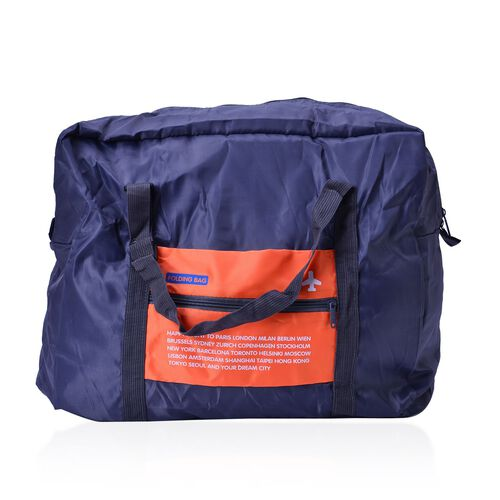 Set of 2 - Blue and Orange Colour Foldable Waterproof Travel Bag and Storage Bag (Size 42x35x17 Cm and 26.5x16x9.5 Cm)
