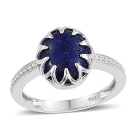 Lapis Lazuli (Ovl) Solitaire Ring in Platinum Overlay Sterling Silver 4.250 Ct.