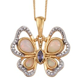 Ethiopian Welo Opal (Pear), Tanzanite Butterfly Pendant With Chain in 14K Gold Overlay Sterling Silver 1.250 Ct.