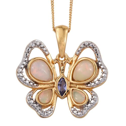 Ethiopian Welo Opal (Pear),Tanzanite Butterfly Pendant With Chain in 14K Gold Overlay Sterling Silver 1.250 Ct.