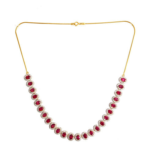 African Ruby, White Topaz 14K Gold Overlay Sterling Silver Necklace (Size 18.00) 21.480 Ct.