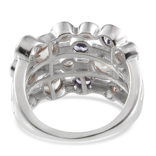White Topaz (Rnd 0.75 Ct), Tanzanite Ring in Platinum Overlay Sterling Silver 3.750 Ct.