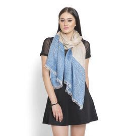 100% Modal Floral Pattern Blue, Beige, and White Colour Jacquard Scarf (Size 180x70 Cm)