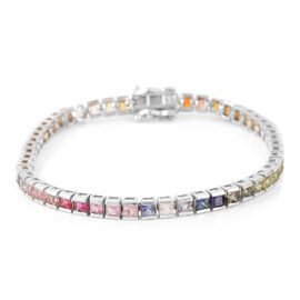 Multi Sapphire (9.00 Ct) Sterling Silver Bracelet (Size 7)  9.000  Ct.
