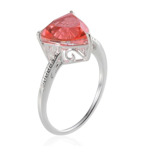 Padparadscha Quartz (Trl) Solitaire Ring in Sterling Silver 4.500 Ct.