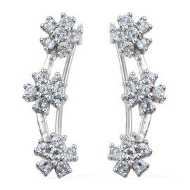 Espirito Santo Aquamarine (Rnd) Flower Climber Earrings in Platinum Overlay Sterling Silver 1.000 Ct.
