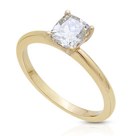ILIANA 18K Y Gold SGL Certified Natural Yellow Diamond (Cush) (SI) Solitaire Ring 1.000 Ct.