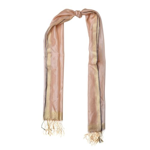 Chocolate Colour Scarf with Golden Thread and Fringes at the Bottom 50 percent SILK 50 percent polyester (Size 180x65 Cm)