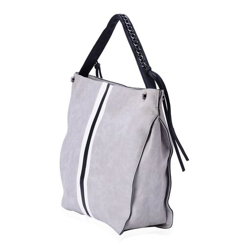 Grey Colour Tote Bag With External Zipper Pocket and Shoulder Strap (Size 42x37x30x13 Cm)