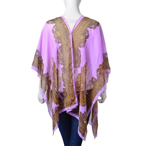 Chocolate, Black and Multi Colour Floral Pattern with Simulated White Pearl Button Purple Colour Poncho (Size 90x75 Cm)