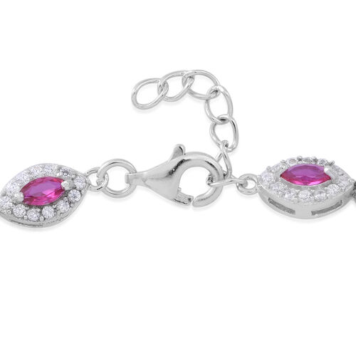 Designer Inspried -Limited Edition - ELANZA AAA Simulated Pink Tourmaline (Mrq), Simulated White Diamond Bracelet (Size 7.5 with Extender) in Rhodium Plated Sterling Silver Total Number of Stone 220