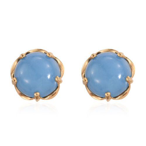 Blue Jade (Rnd) Stud Earrings (with Push Back) in 14K Gold Overlay Sterling Silver 13.250 Ct.