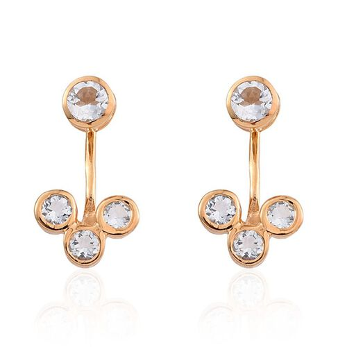 Espirito Santo Aquamarine (Rnd) Earrings (with Push Back) in 14K Gold Overlay Sterling Silver 1.000 Ct.