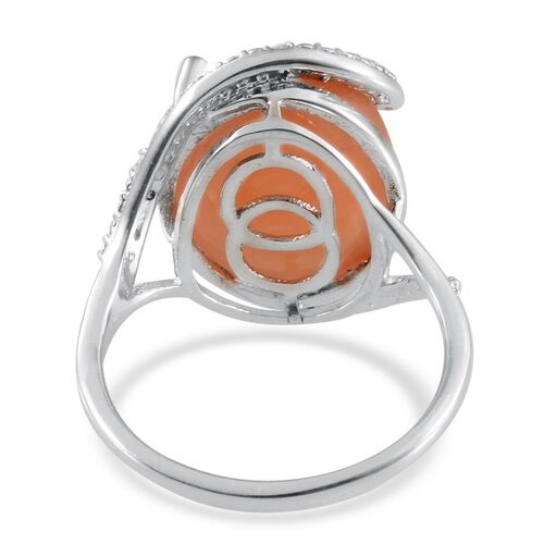 Mitiyagoda Peach Moonstone (Ovl 9.50 Ct), Diamond Ring in Platinum Overlay Sterling Silver 9.510 Ct.