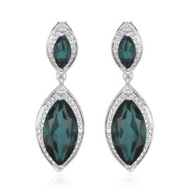 Indicolite Quartz Triplet (Mrq) Earrings (with Push Back) in Platinum Overlay Sterling Silver 6.900 Ct.