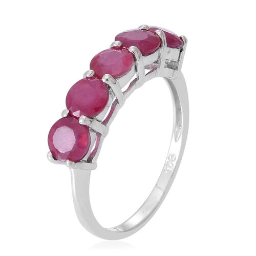 African Ruby (Rnd) 5 Stone Ring in Rhodium Plated Sterling Silver 2.500 Ct.