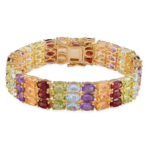 Mozambique Garnet (Ovl), Sky Blue Topaz, Hebei Peridot, Amethyst and Citrine Bracelet (Size 7.75) in Yellow Gold Overlay Sterling Silver 46.000 Ct.