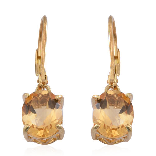 Citrine (Ovl) Lever Back Earrings in 14K Gold Overlay Sterling Silver 3.250 Ct.